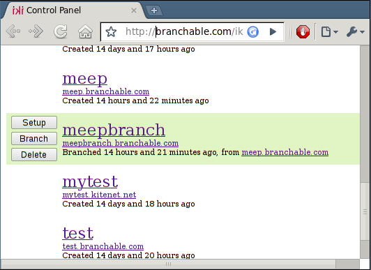 branched site in control panel